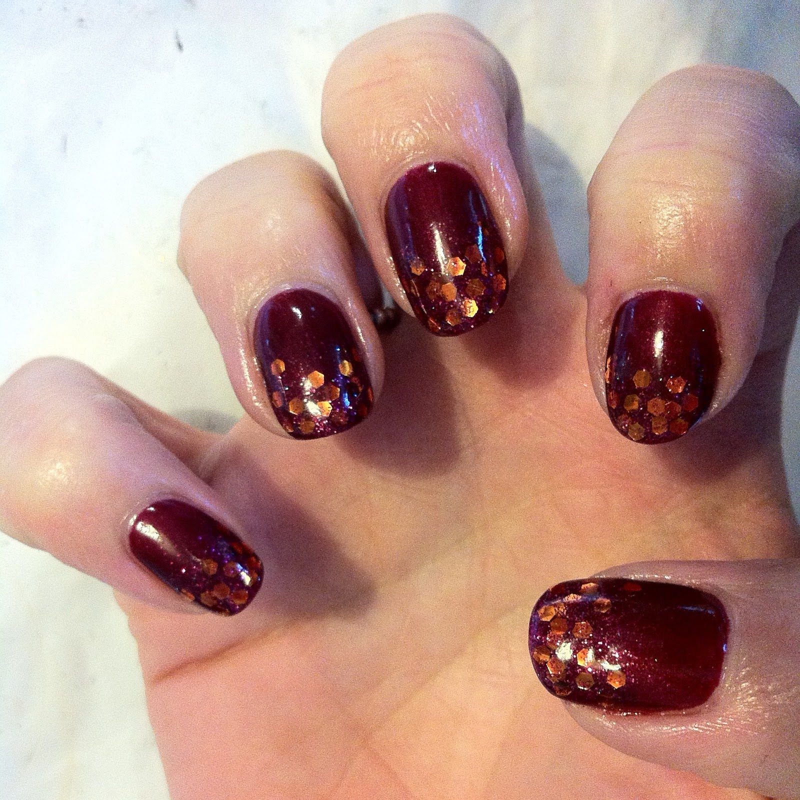 Brush Up And Polish Up Cnd Shellac Nail Art Autumn Rust In Glitter