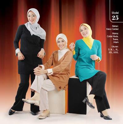 Busana Muslim Qirani Coklat Muda Toska Hitam