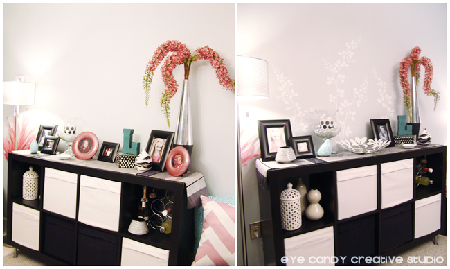 before and after wall design shot, dining room wall, white vinyl decal