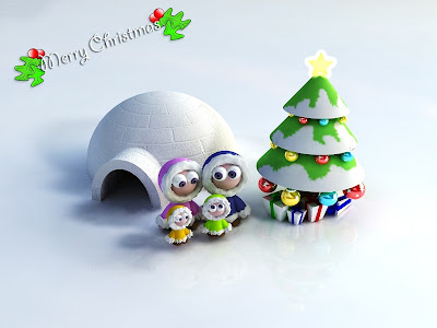 3d cute christmas wallpaper family