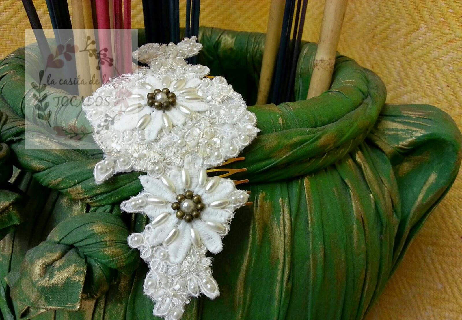 tocado de novia artesanal de guipur