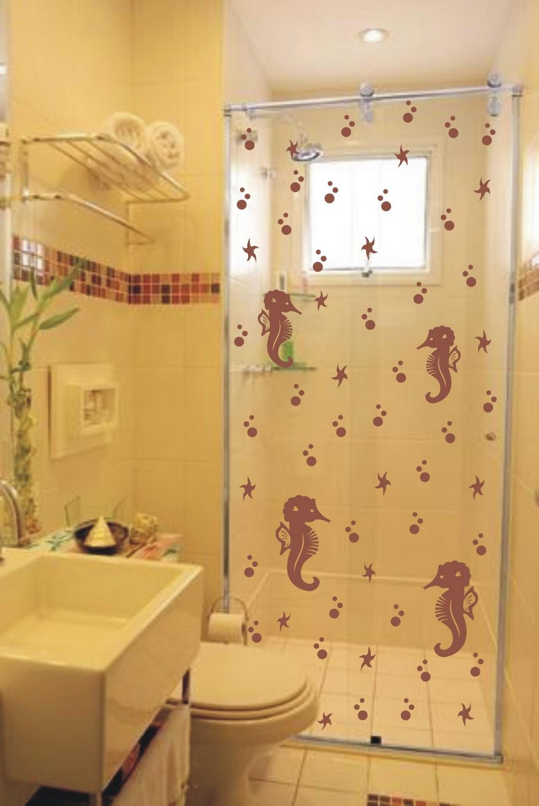 adesivo de banheiro para box cavalo marinhos adesivos de parede #A47D27 1071x1600 Adesivos Para Box De Vidro Banheiro