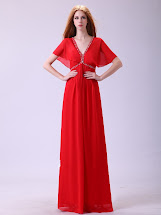 Red Prom Dresses with Sleeves