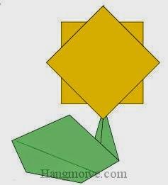 Bước 10: Dùng keo dán giấy gắn cánh hoa với cành hoa lại với nhau để hoàn chành cách xếp bông hoa hướng dương bằng giấy origami đơn giản.