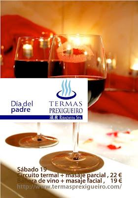 sábado (19) ofertamos<br />Circuito termal + masaje parcial = 22€<br />Bañera de vino + masaje facial =19