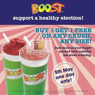 BUY 1 FREE 1 Boost Juice GE PRU 13 Promo 2013