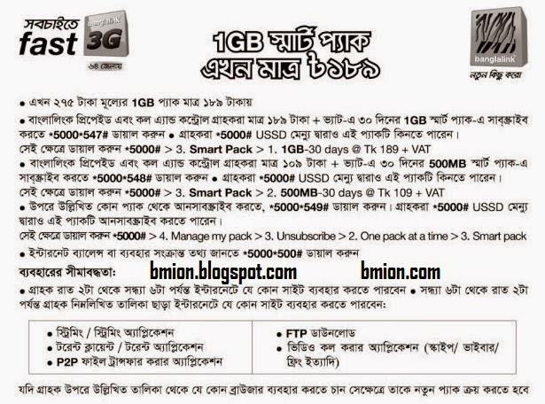 Banglalink-Smar-Pack-1GB-189Tk-500MB-109tk-30days-offer