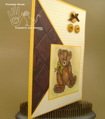 Picture of card set at a right angle to show dimension of front elements on the card