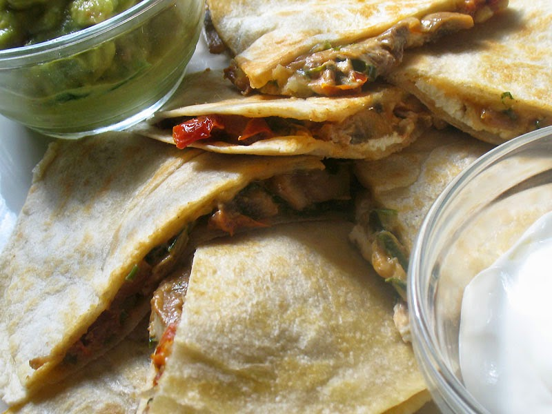 Mushroom and Goat Cheese Quesadillas with Sun-Dried Tomatoes | Lisa's ...