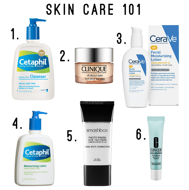 Skin care products from Cetaphil, Clinique, CeraVe, and Smashbox.