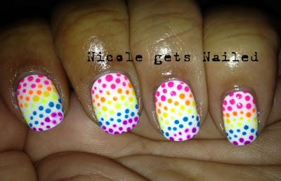 Neon Rainbow Polka Dots Nail Art