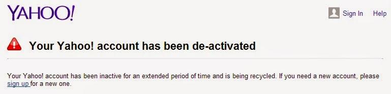 Account Yahoo tetap tidak bisa di pulihkan