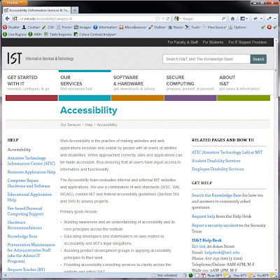 Screen shot of http://ist.mit.edu/accessibility?category=9.