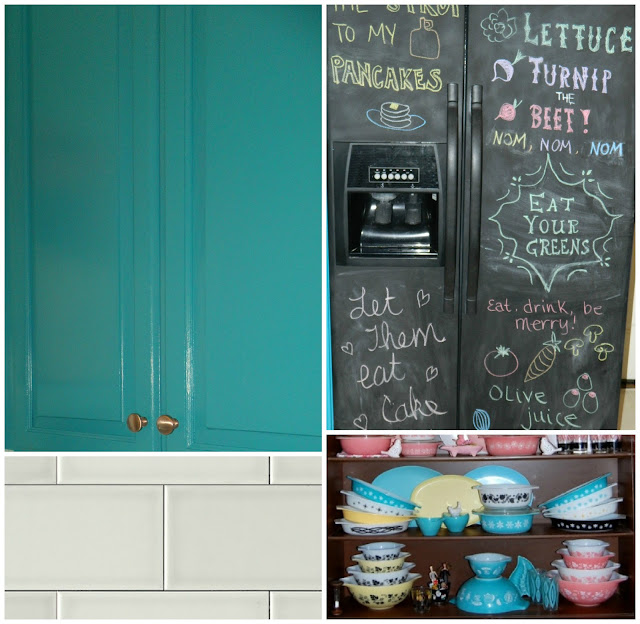 teal cupboards painted cabinets blue chalkboard fridge pyrex vintage kitchen Just Peachy, Darling