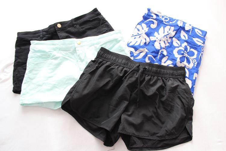 Shorts und Röcke, schwarz, blau, mint