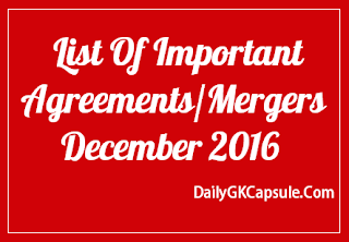 List Of Important MOU's Agreements and Acquisitions/Mergers Dec 2015