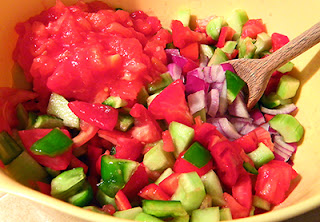 Soft and Firm Tomatoes, Cucumbers, Peppers, and Onion