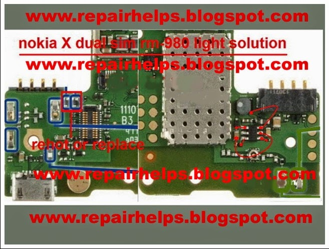 nokia x lcd ligt problem solution with jumper diagram  gsmfixer, schematic