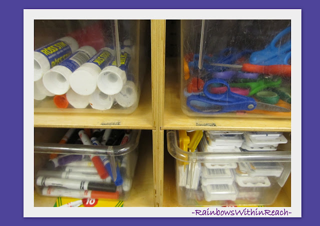 photo of: Bin Storage for Art Materials onto Shelving System