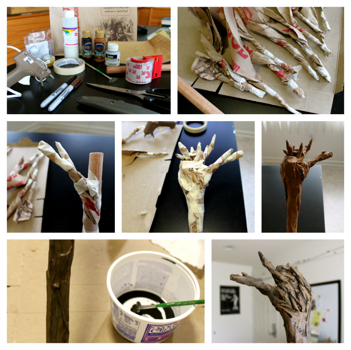 Cation designs diy gandalf the grey staff to make the staffs twisty branches i used brown paper bag strips and masking tape cheap acrylic craft paint made it wood like and watered down black solutioingenieria Gallery