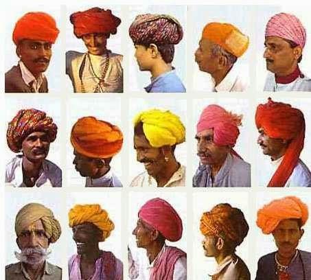 De la infinita variedad de turbantes del subcontinente Indostánico da fe esta colección pertenecientes a  Rajhastan