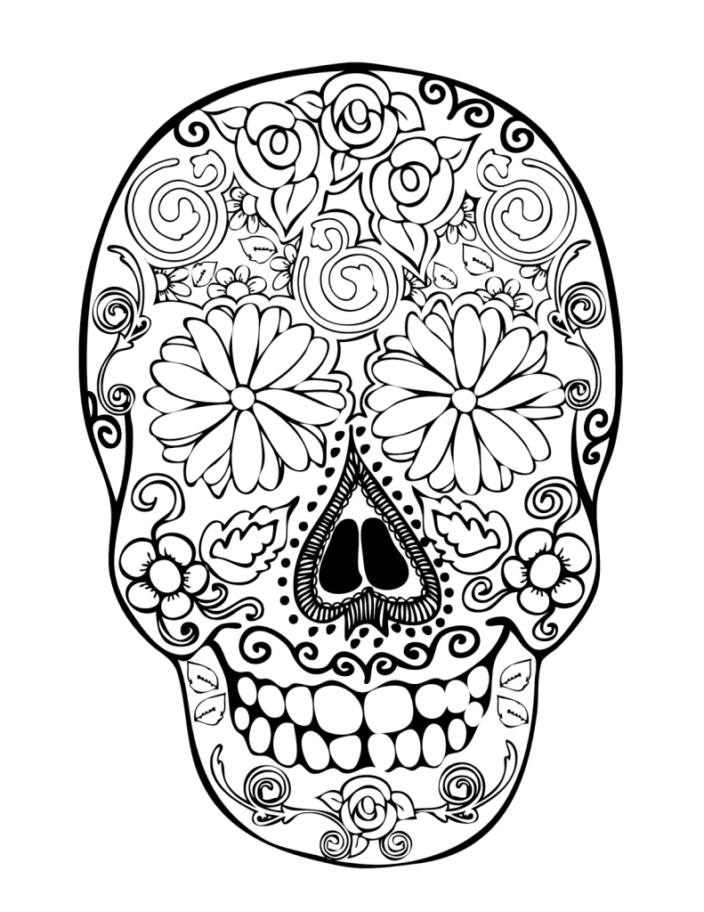 Free Sugar Skulls Flowers Coloring Pages Girly Sugar Skull Coloring Pages