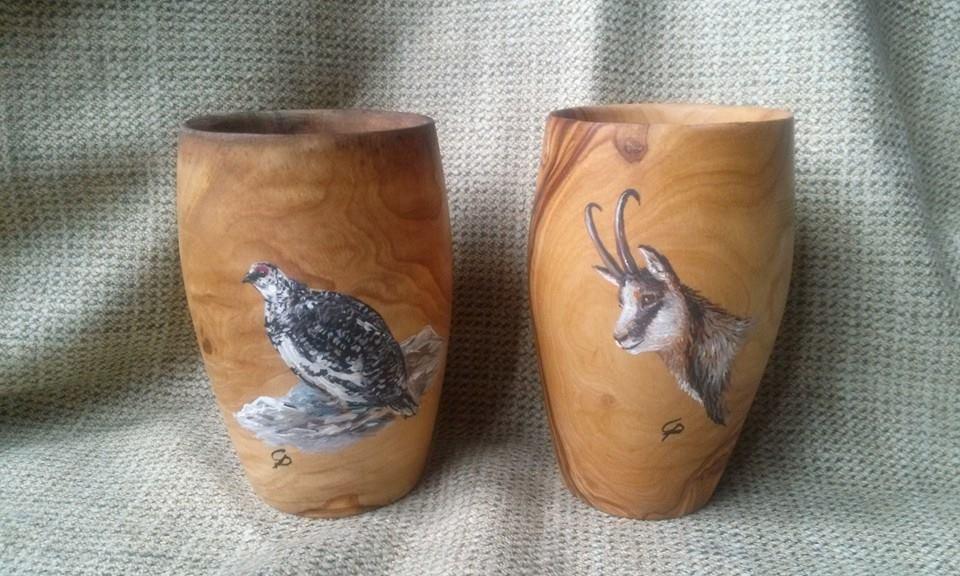 Decorarte bicchieri e calici in ulivo personalizzati for Bicchieri in legno