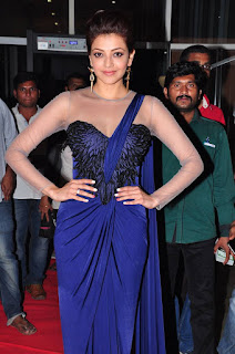 Kajal Agarwal ina  Spicy Blue Saree Style Lehenga at Jaysurya movie Audio launch