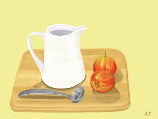 Milk jug with apples