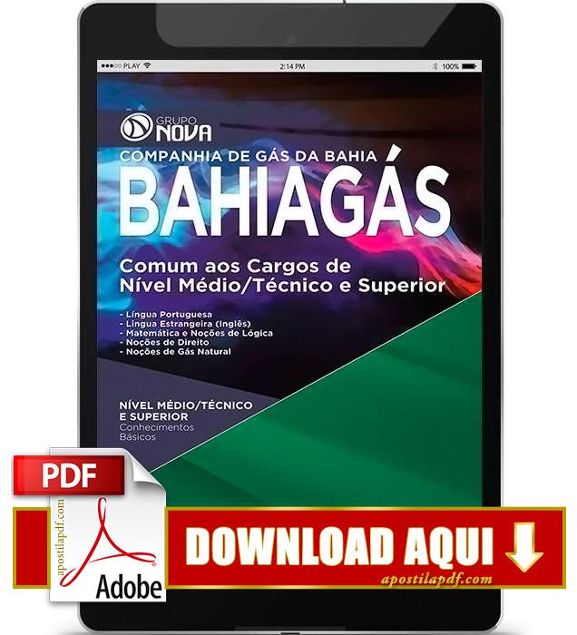 Apostila BAHIAGÁS 2015 PDF Download Nível Médio, Superior e Técnico