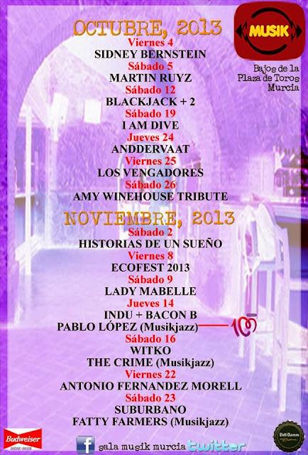 sala musik octubre noviembre