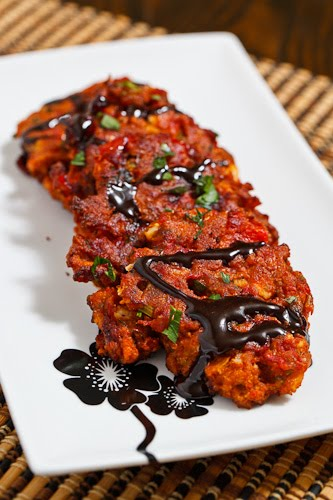 Roasted Red Pepper and Feta Fritters drizzled with Balsamic Syrup