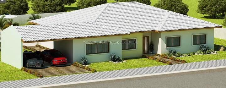 Fachada casa alto padrão 3 quartos