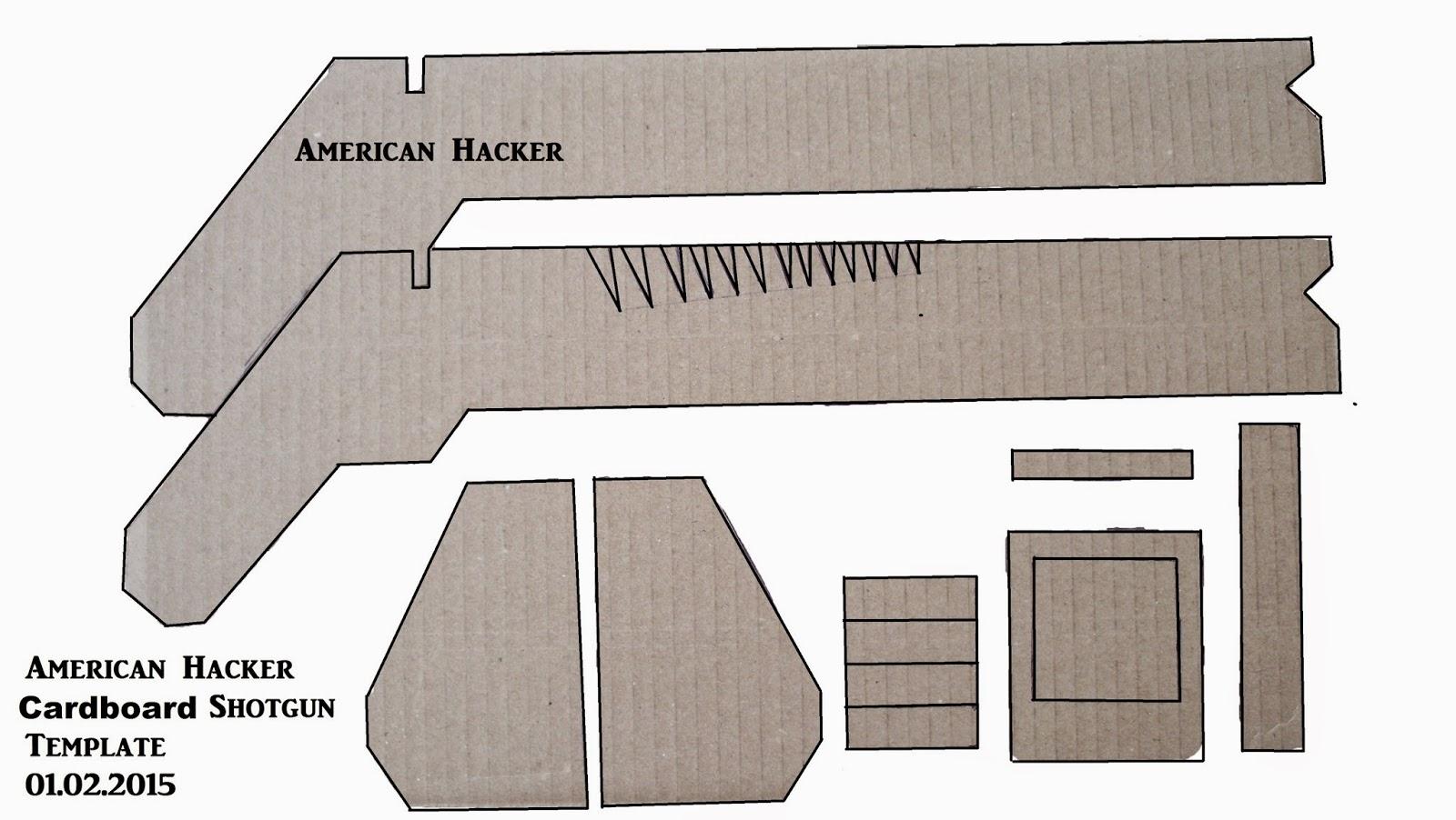 american hacker cardboard shotgun template