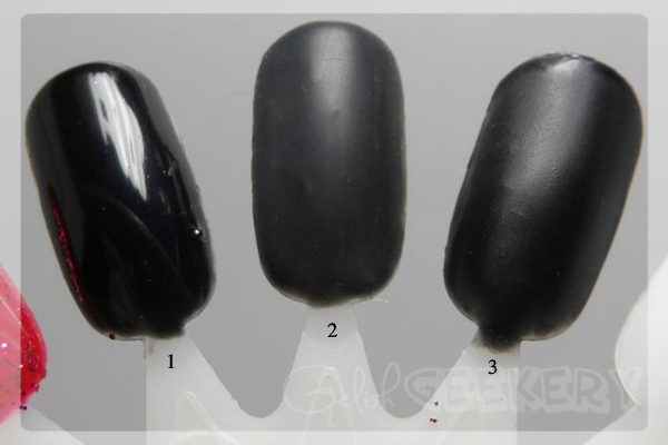 Gelish Matte Top It Off Swatch. 1. Black Shadow; 2. Black Shadow & Gelish Matte Top It Off; 3. Black Shadow & Orly Matte Top Coat