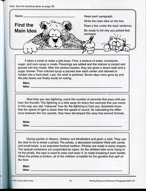 Worksheets 5th Grade Main Idea Worksheets main idea worksheets 3rd grade printable