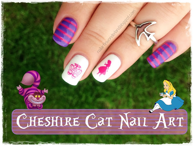 Twinsie Tuesday: Favorite Fictional Character | Alice in Wonderland - Cheshire Cat Nail Art