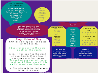 bingo games for K-1