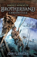 cover of The Outcasts by John Flanagan book one in the Brotherband Chronicles shows a viking hanging onto a ships' rope