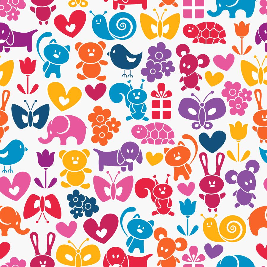 カラフルな動物のシームレス パターン背景 Cute cartoon animals background イラスト素材