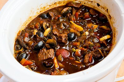 Slow Cooker Mediterranean Beef Stew with Rosemary and Balsamic Vinegar (Low-Carb, Gluten-Free, Paleo) found on KalynsKitchen.com