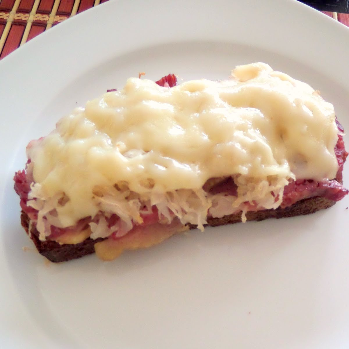Open Faced Reuben Melts:  All your favorite Reuben ingredients piled on crostini and ready for a quick meal, appetizer, or football snack.