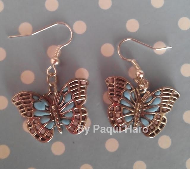 Pendientes mariposa decorados con fimo
