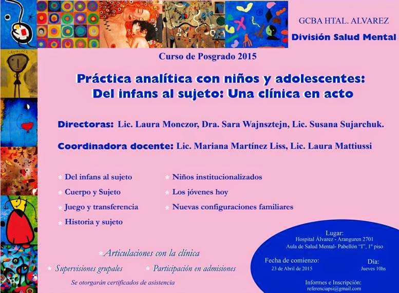 CURSO DE POSTGRADO EN CLÍNICA CON NIÑOS Y ADOLESCENTES ABRIL-NOV 2015