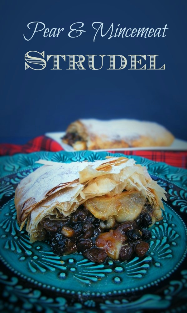 Pear and Mincemeat Strudel. The perfect way to use up leftover mincemeat.