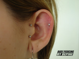 tragus surface helix piercing