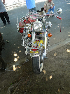 Heavily embellished Harley Panhead Motorcycle front view