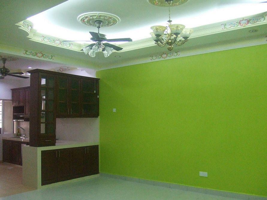 ... desain interior ruang tamu mewah. tanaman hijau subur warna cat rumah