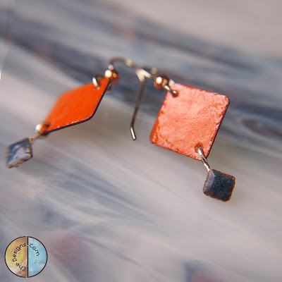 Dangle Ename Earrings, handmade in copper and sterling silver, nectarine orange and denim blue