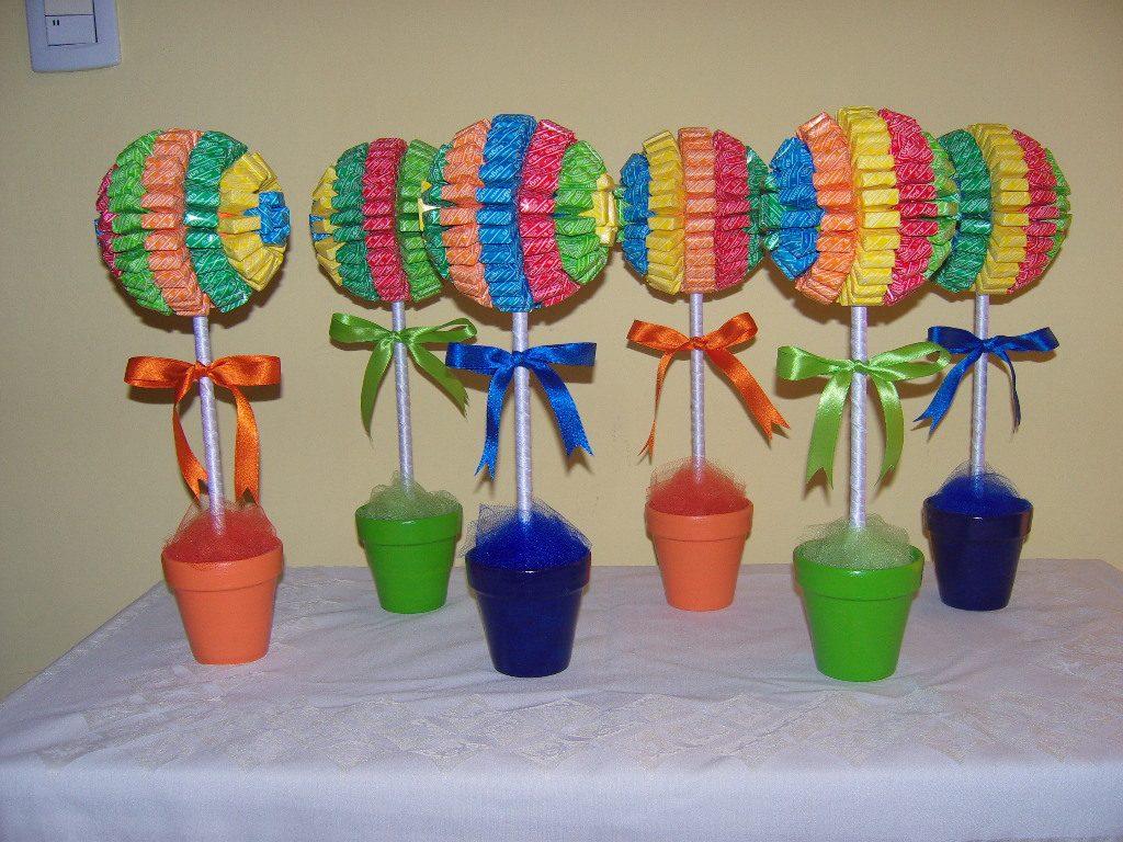 Centros de mesa con dulces parte 2 - Decoracion cumpleanos infantiles manualidades ...